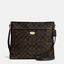 COACH SIGNATURE FILE BAG - LIGHT GOLD/BROWN/BLACK - F34938