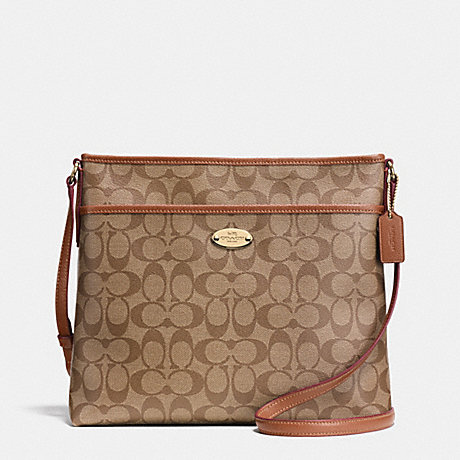COACH f34938 SIGNATURE FILE BAG LIGHT GOLD/KHAKI/SADDLE