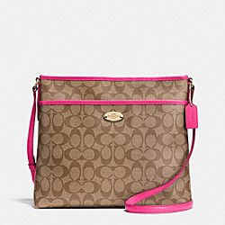 FILE BAG IN SIGNATURE CANVAS - f34938 -  LIGHT GOLD/KHAKI/PINK RUBY