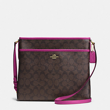 COACH FILE BAG IN SIGNATURE - IMITATION GOLD/BROWN/FUCHSIA - f34938