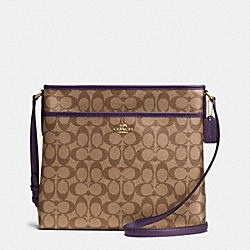 FILE BAG IN SIGNATURE - IMITATION GOLD/KHAKI AUBERGINE - COACH F34938