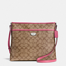COACH SIGNATURE FILE BAG - SILVER/KHAKI/SUNSET RED - F34938