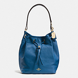TURNLOCK TIE BUCKET BAG IN MATTE SOFT GRAIN LEATHER - LIGHT GOLD/DENIM - COACH F34988