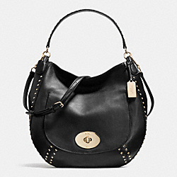 COACH CIRCLE HOBO IN STUDDED CALF LEATHER - LIGHT GOLD/BLACK - F34998