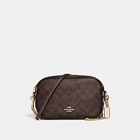 COACH ISLA CHAIN CROSSBODY IN SIGNATURE CANVAS WITH LEOPARD PRINT - BROWN MULTI/LIGHT GOLD - F35083