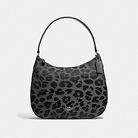 COACH ZIP SHOULDER BACK WITH LEOPARD PRINT - GREY/SILVER - F35085