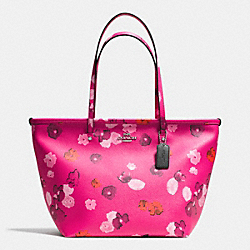 COACH STREET ZIP TOTE IN FLORAL PRINT CANVAS - SILVER/PINK MULTICOLOR - F35161