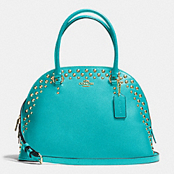COACH CORA DOMED SATCHEL IN STUDDED CROSSGRAIN LEATHER - LIGHT GOLD/CADET BLUE - F35216