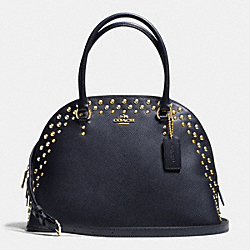 COACH CORA DOMED SATCHEL IN STUDDED CROSSGRAIN LEATHER - LIGHT GOLD/MIDNIGHT - F35216