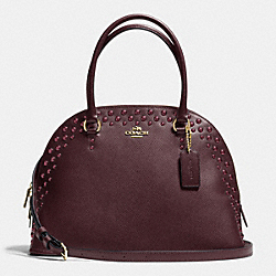 COACH CORA DOMED SATCHEL IN STUDDED CROSSGRAIN LEATHER - IMOXB - F35216