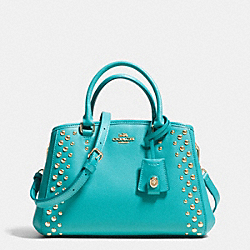COACH MINI MARGOT CARRYALL IN STUDDED CROSSGRAIN LEATHER - LIGHT GOLD/CADET BLUE - F35217