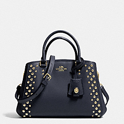 COACH MINI MARGOT CARRYALL IN STUDDED CROSSGRAIN LEATHER - LIGHT GOLD/MIDNIGHT - F35217