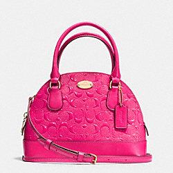 COACH MINI CORA DOMED SATCHEL IN DEBOSSED PATENT LEATHER - LIGHT GOLD/PINK RUBY - F35279