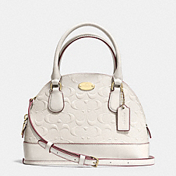 COACH MINI CORA DOMED SATCHEL IN DEBOSSED PATENT LEATHER - LIGHT GOLD/CHALK - F35279