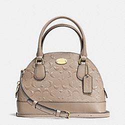 COACH MINI CORA DOMED SATCHEL IN DEBOSSED PATENT LEATHER - LIGHT GOLD/STONE - F35279