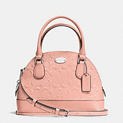COACH MINI CORA DOMED SATCHEL IN DEBOSSED PATENT LEATHER - SILVER/BLUSH - F35279