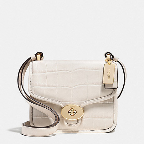 COACH PAGE MINI CROSSBODY IN CROC EMBOSSED LEATHER - LIGHT GOLD/CHALK - f35283