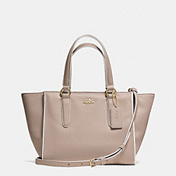COACH MINI CROSBY CARRYALL IN COLORBLOCK LEATHER - LIGHT GOLD/GREY BIRCH/CHALK - F35324