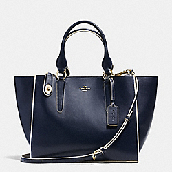 CROSBY CARRYALL IN COLORBLOCK LEATHER - f35331 - LIGHT GOLD/NAVY/CHALK