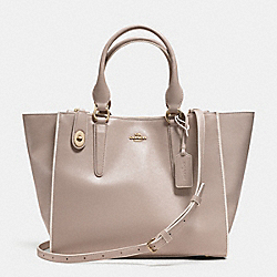 CROSBY CARRYALL IN COLORBLOCK LEATHER - f35331 - LIGHT GOLD/GREY BIRCH/CHALK