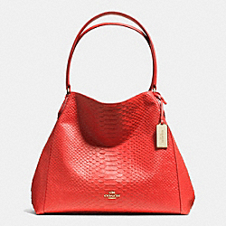 COACH EDIE SHOULDER BAG IN PYTHON EMBOSSED LEATHER - LIGHT GOLD/WATERMELON - F35340