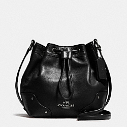 COACH BABY MICKIE DRAWSTRING SHOULDER BAG IN GRAIN LEATHER - ANTIQUE NICKEL/BLACK - F35363