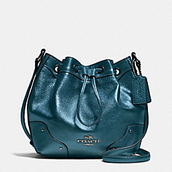 COACH BABY MICKIE DRAWSTRING SHOULDER BAG IN GRAIN LEATHER - ANTIQUE NICKEL/METALLIC BLUE - F35363