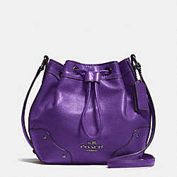 COACH BABY MICKIE DRAWSTRING SHOULDER BAG IN GRAIN LEATHER - ANTIQUE NICKEL/PURPLE IRIS - F35363