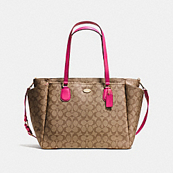 COACH BABY BAG IN SIGNATURE CANVAS - LIGHT GOLD/KHAKI/PINK RUBY - F35414