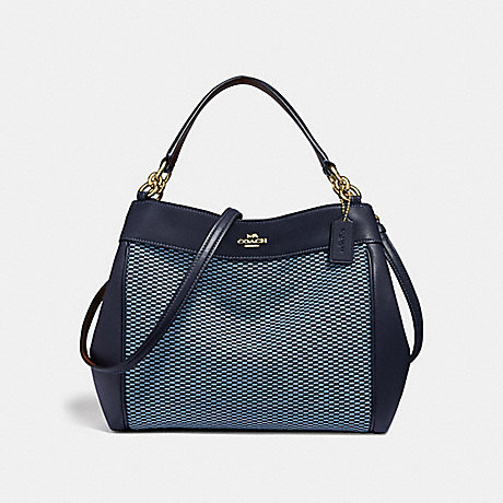 COACH SMALL LEXY SHOULDER BAG WITH LEGACY PRINT - BLUE/MULTI/LIGHT GOLD - F35427