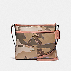 FILE CROSSBODY WITH WILD CAMO PRINT - KHAKI MULTI /SILVER - COACH F35440