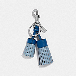 DOUBLE TASSEL BAG CHARM - SV/CORNFLOWER - COACH F35445