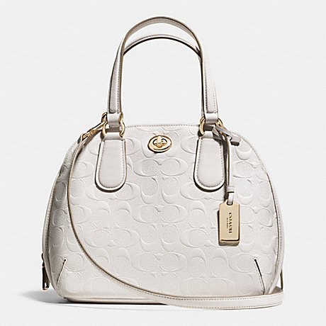 COACH f35452 PRINCE STREET MINI SATCHEL IN SIGNATURE EMBOSSED LEATHER  LIGHT GOLD/CHALK
