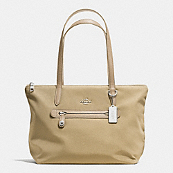 COACH COACH ZIP TOTE IN NYLON - SILVER/PUTTY - F35500