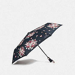 UMBRELLA WITH DAISY BOUQUET PRINT - NAVY/SILVER - COACH F35505