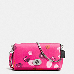 MINI RUBY CROSSBODY IN FLORAL PRINT CANVAS - f35553 -  SILVER/PINK MULTICOLOR