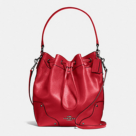 COACH MICKIE DRAWSTRING SHOULDER BAG IN GRAIN LEATHER - BLACK ANTIQUE NICKEL/CLASSIC RED - f35684