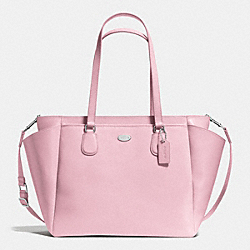 BABY BAG IN CROSSGRAIN LEATHER - f35702 - SILVER/PETAL