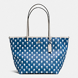 COACH BADLANDS FLORAL STREET ZIP TOTE IN FLORAL EMBOSSED CANVAS - SILVER/BLUE MULTICOLOR - F35703