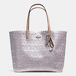 METRO TOTE IN EYELET LEATHER - f35716 -  SILVER/GREY PEARL