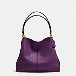 PHOEBE SHOULDER BAG IN PEBBLE LEATHER - f35723 - IMITATION GOLD/AUBERGINE