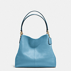 PHOEBE SHOULDER BAG IN PEBBLE LEATHER - f35723 - IMITATION GOLD/BLUEJAY
