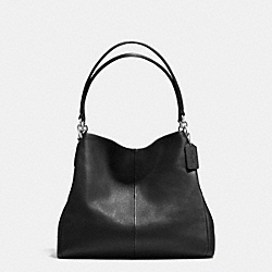 PHOEBE SHOULDER BAG IN PEBBLE LEATHER - F35723 - SILVER/BLACK