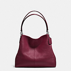 PHOEBE SHOULDER BAG IN PEBBLE LEATHER - f35723 - SILVER/BURGUNDY