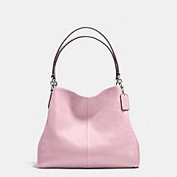 PHOEBE SHOULDER BAG IN PEBBLE LEATHER - f35723 - SILVER/PETAL