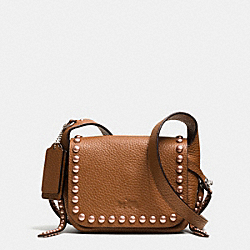 COACH RIVETS DAKOTAH 14 CROSSBODY IN PEBBLE LEATHER - WARM ROLLER NICKEL/SADDLE/PEACH - F35750