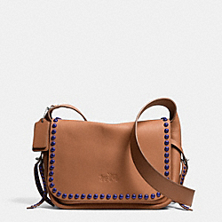 COACH RIVETS DAKOTAH CROSSBODY IN CALF LEATHER - WARM ROLLER NICKEL/SADDLE/PERIWINKLE - F35753