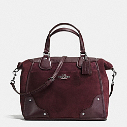 COACH MICKIE SATCHEL IN SUEDE - ANTIQUE NICKEL/OXBLOOD - F35778