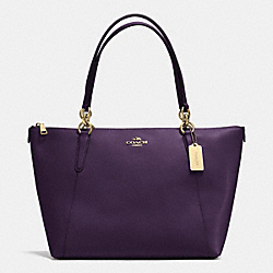 AVA TOTE IN CROSSGRAIN LEATHER - f35808 - IMITATION GOLD/AUBERGINE