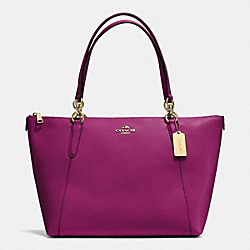 AVA TOTE IN CROSSGRAIN LEATHER - F35808 - IMITATION GOLD/FUCHSIA